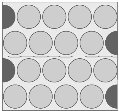 Двухрядная шахматка с использованием вторичного скролл листа